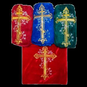 Обивка гроба внешняя из бархат-стрейч с вышивкой КРЕСТ
